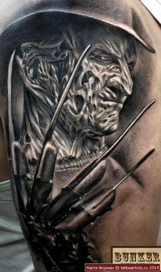 3D Freddy Krueger tattoo design