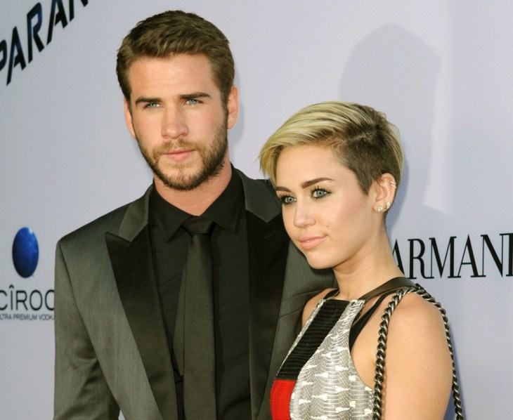Miley Cyrus and Liam Hemsworth on the red carpet