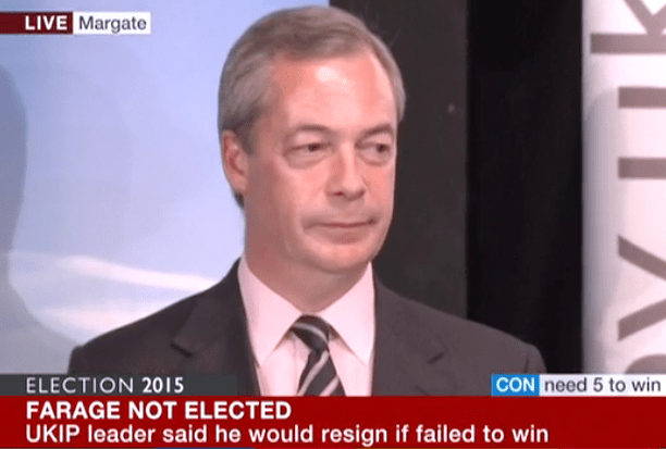 Nigel Farage losing face