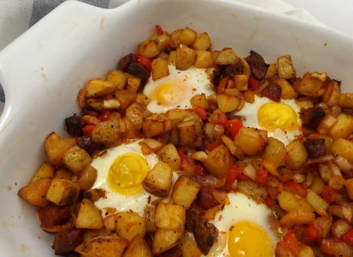 Spicy Chorizo And Potato Hash With Baked Eggs
