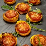 Tomato and pesto puff pastry bites