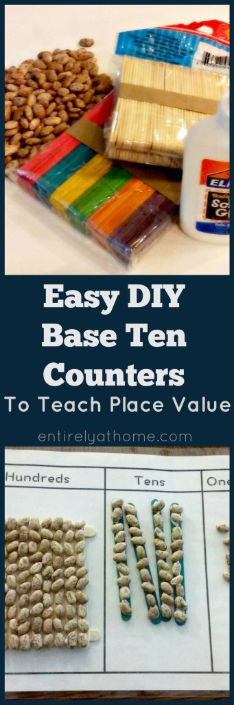 Easy DIY Base Ten Counters with a free Printable Place Value Work Mat!