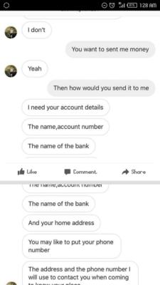 Phishing scam chat