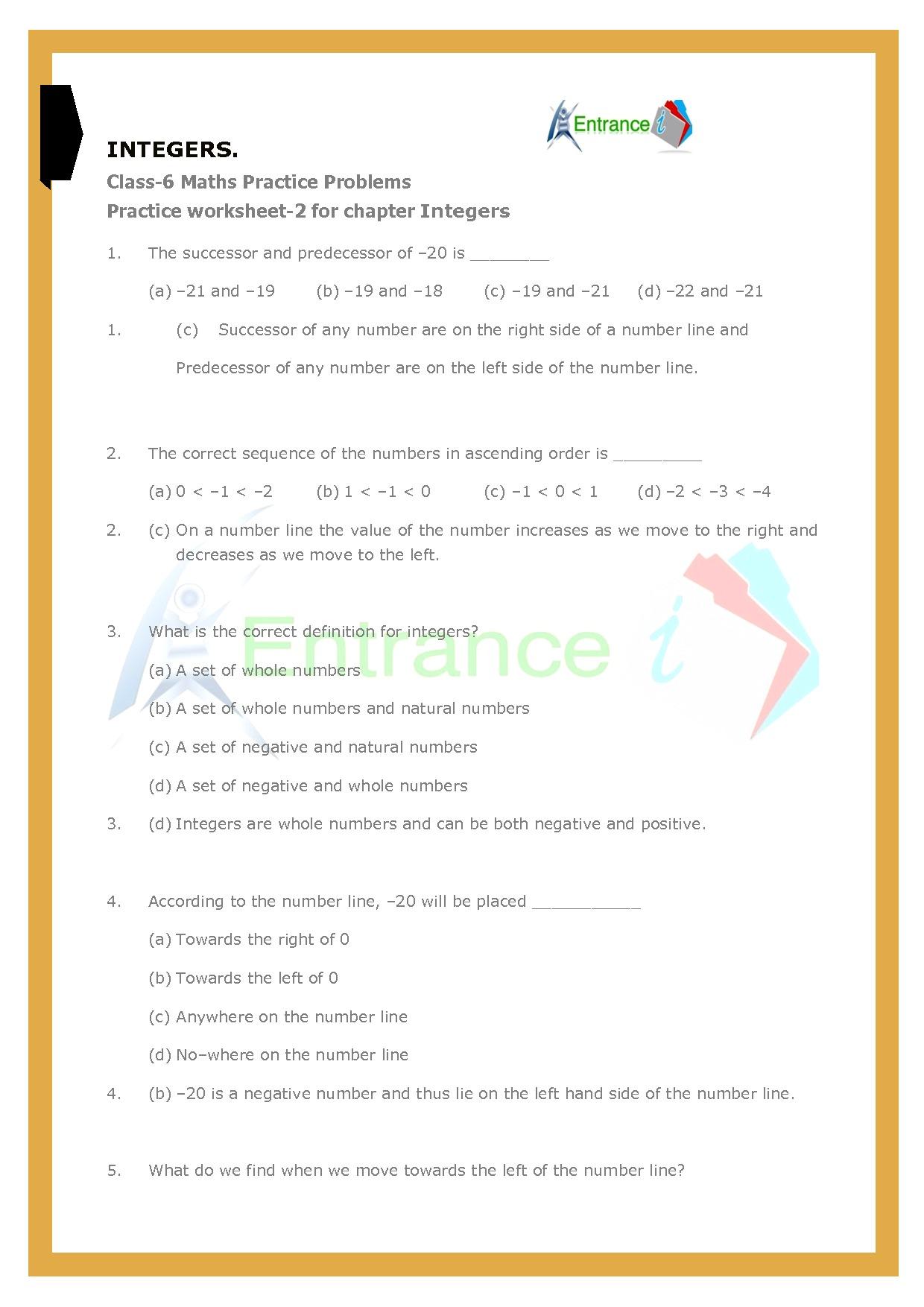 Worksheet 2 For Chapter Integers Class 6 Maths