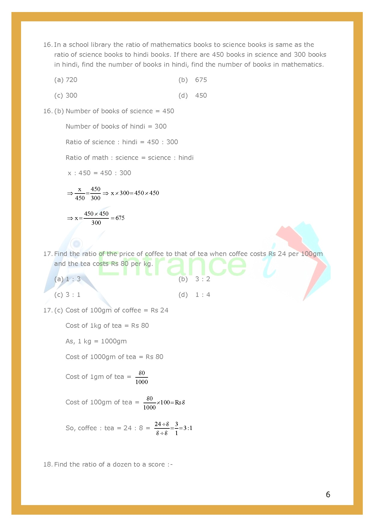 Class 6 Maths Chapter 12 Ratio And Proportion Worksheet 3