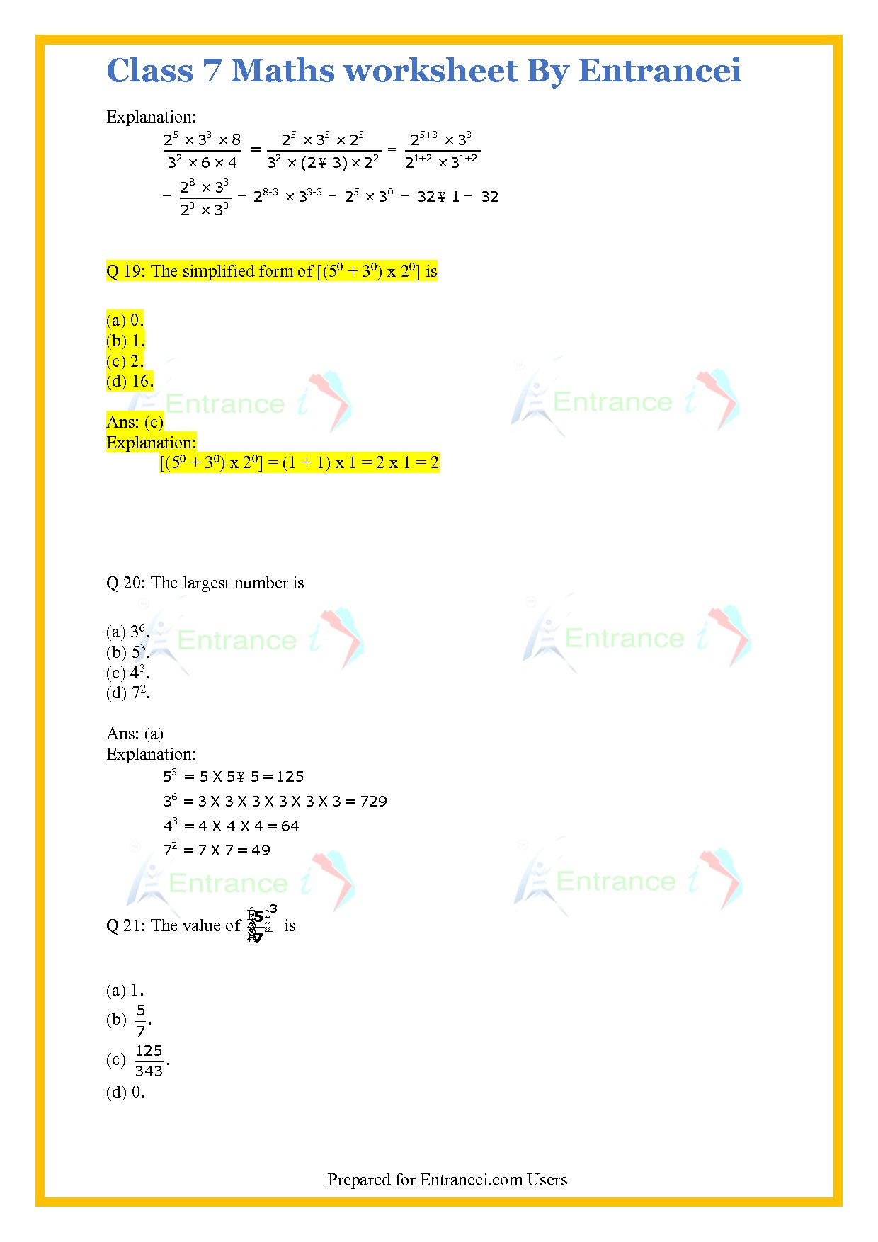 Cbse Class 7 Maths Worksheet For Chapter 13 Exponents And