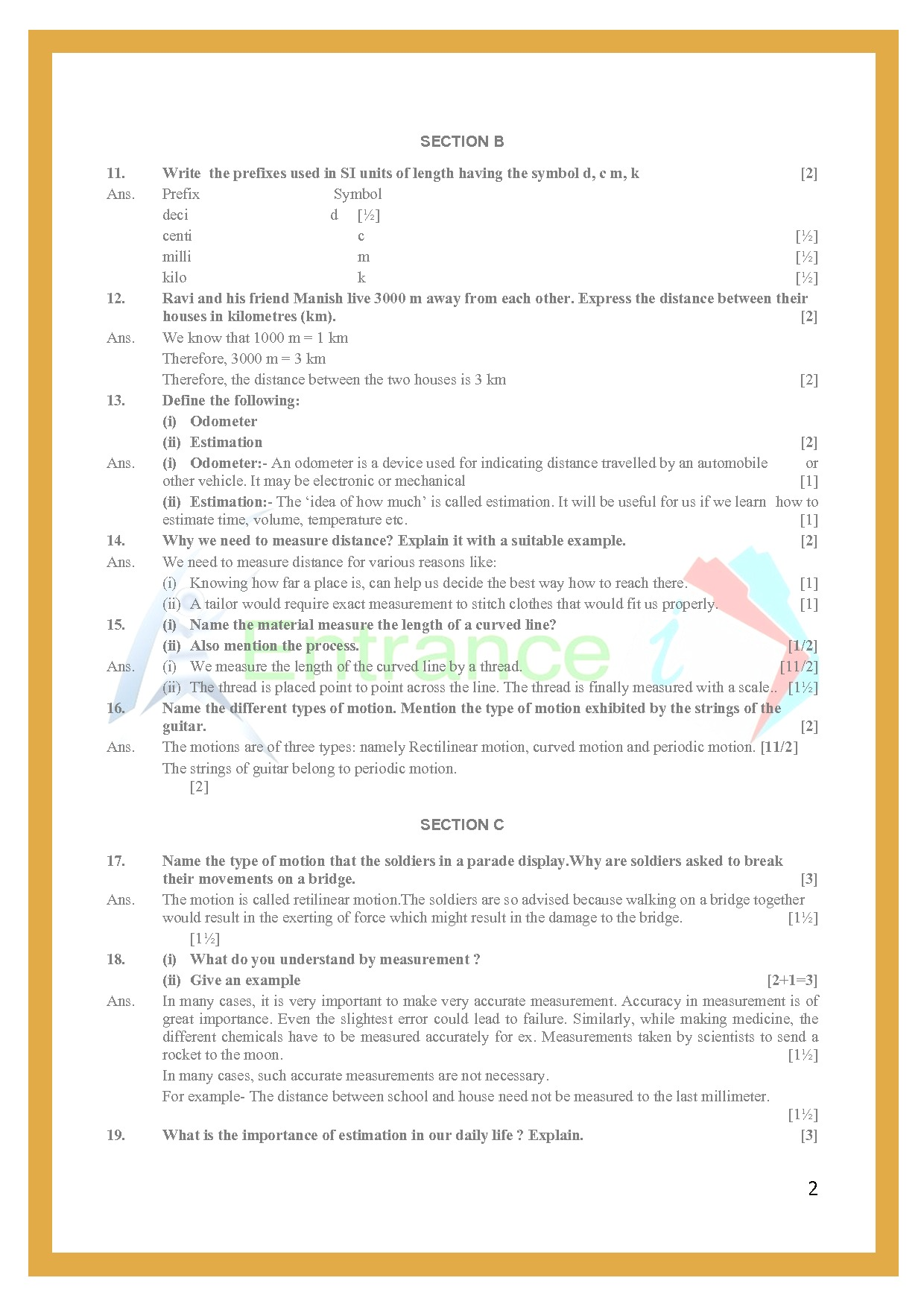Class 6 Science Worksheets Chapter 10 Motion And
