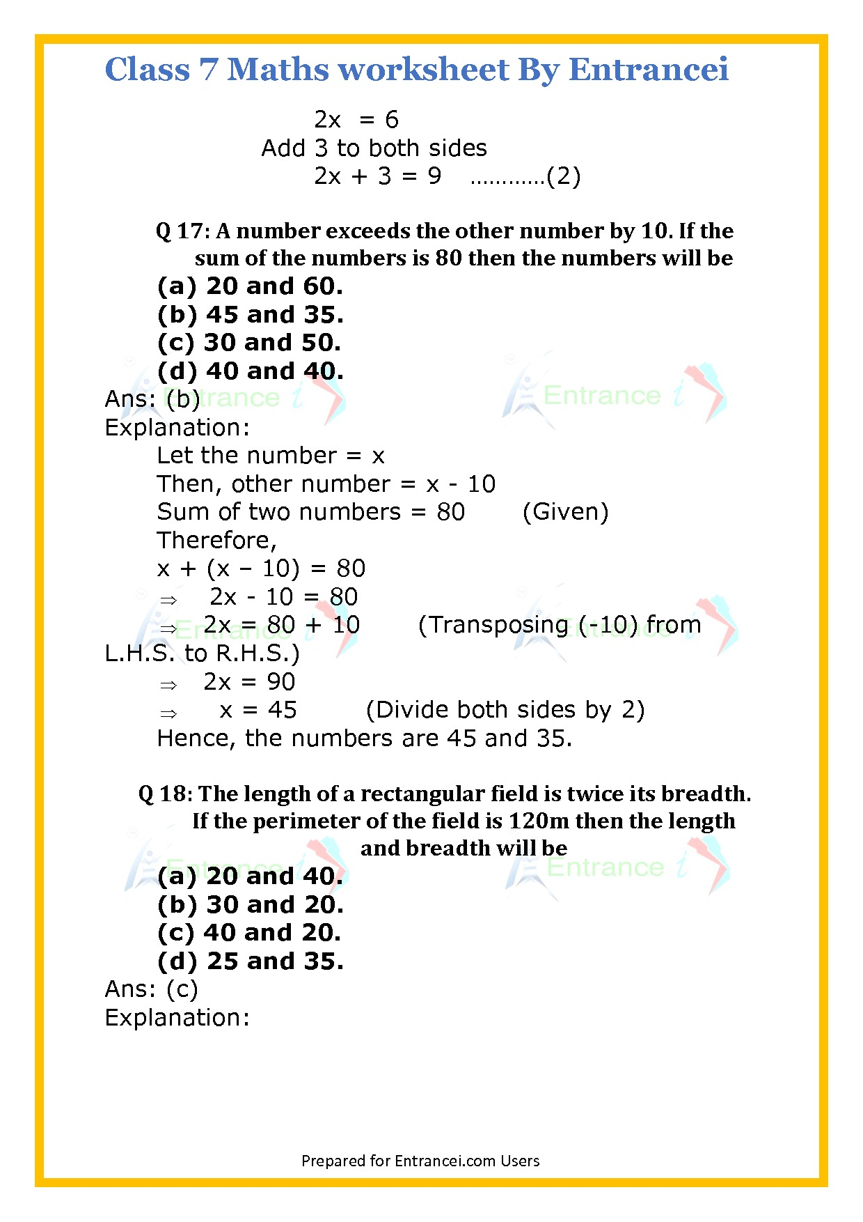 Cbse Class 7 Maths Worksheet For Chapter 4 Simple Equations