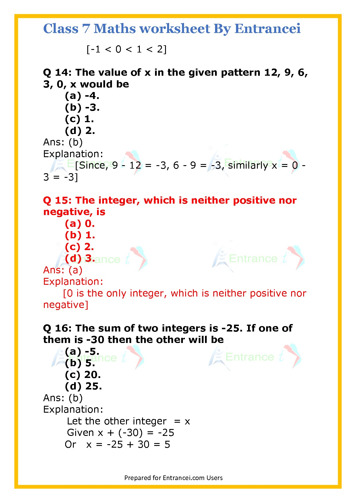 Cbse Class 7 Maths Worksheet For Chapter 1 Integers