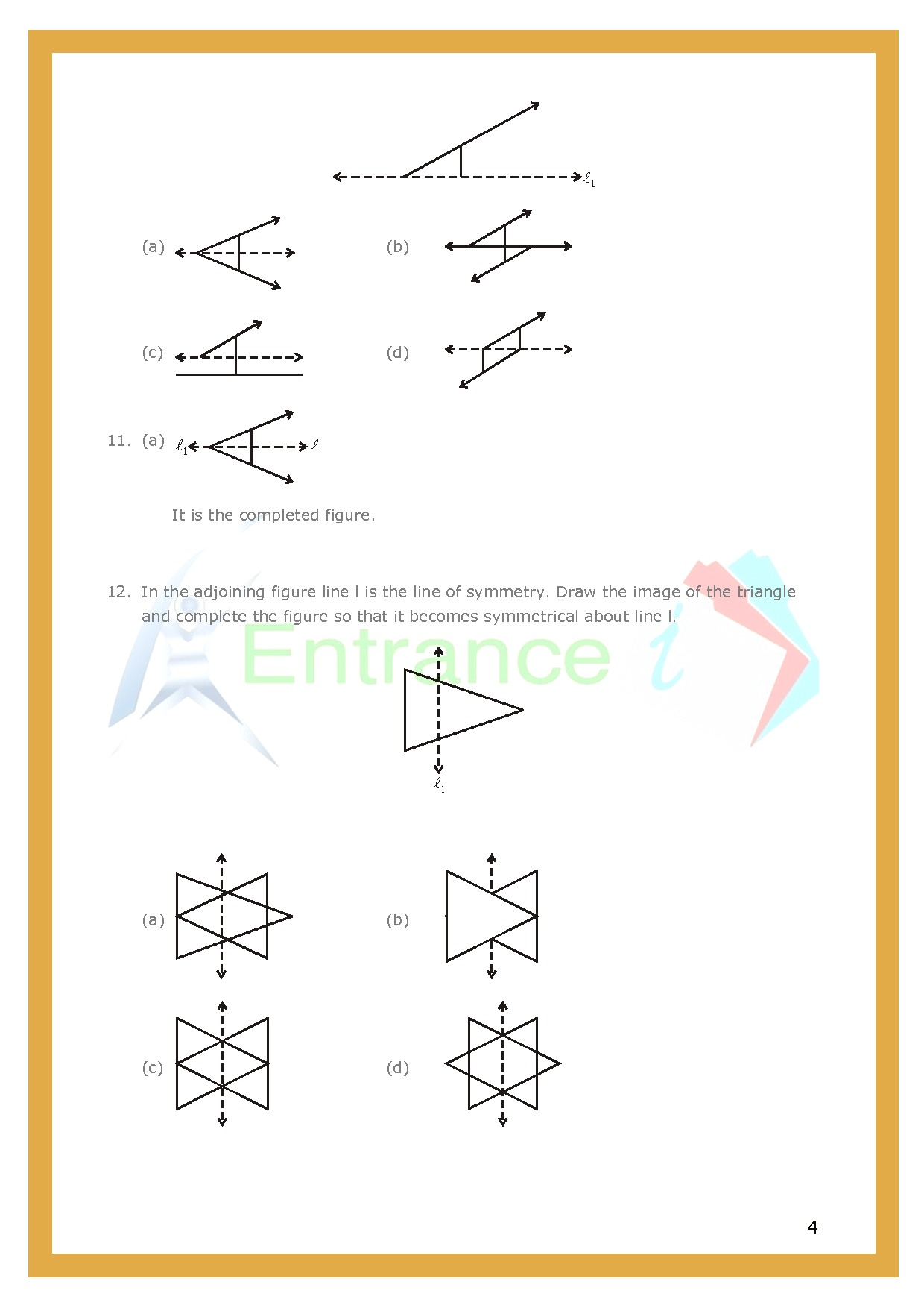 Class 6 Maths Chapter 13 Symmetry Worksheet 1 Entrancei