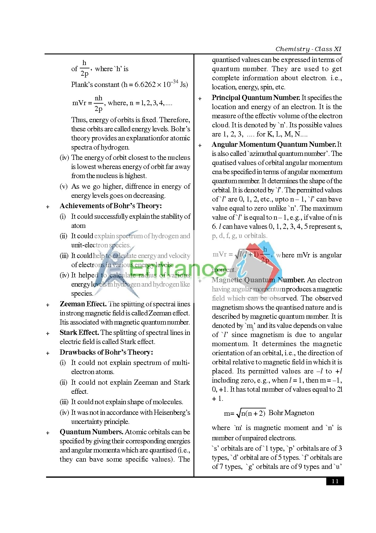Chemistry Formula For Class 11 Chapter Atomic Structure