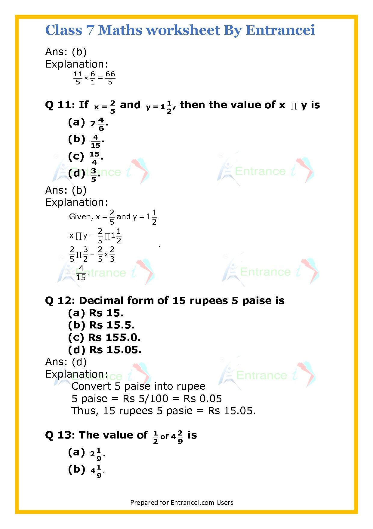 Cbse Class 7 Maths Worksheet For Chapter 2 Fraction And