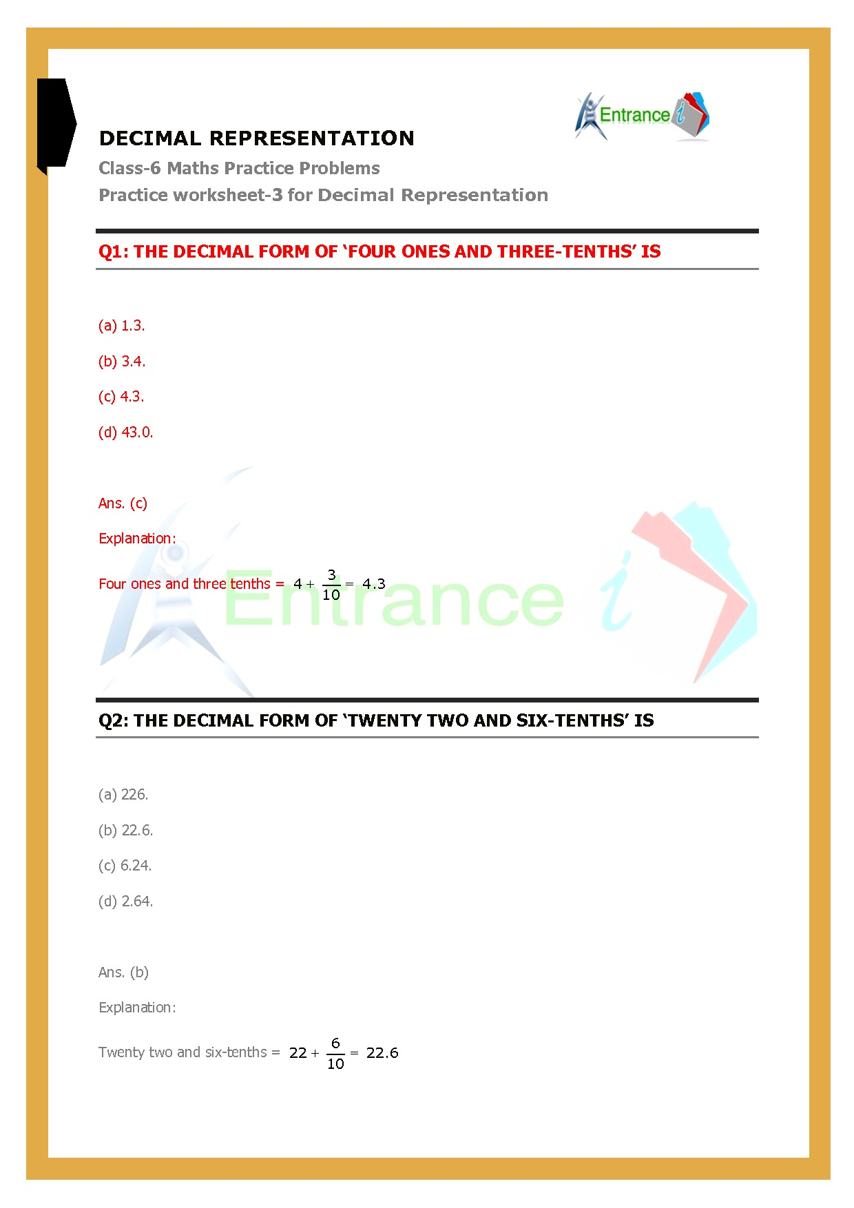 Worksheet 3 For Chapter 8 Decimals Class 6 Maths Entrancei