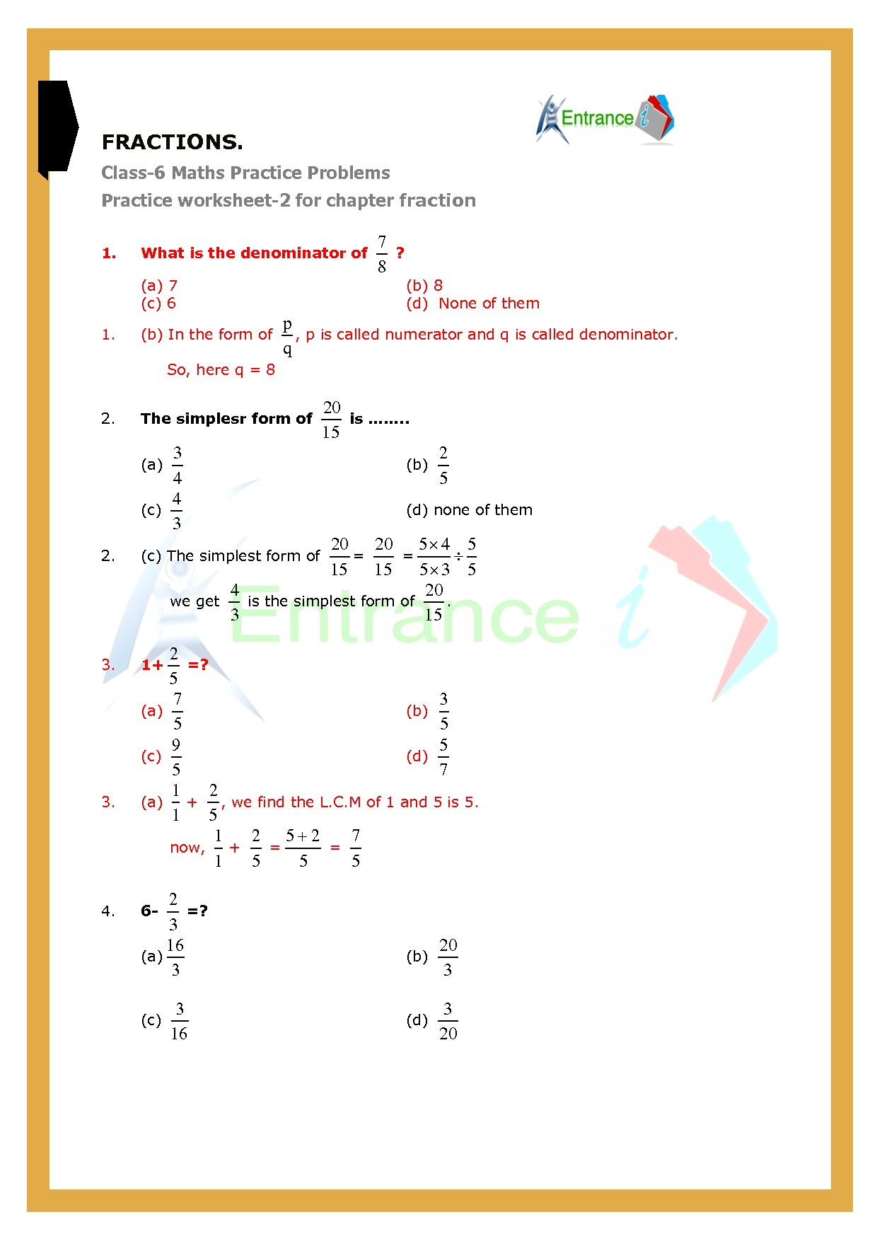 Worksheet 2 For Chapter Fractions Class 6 Maths