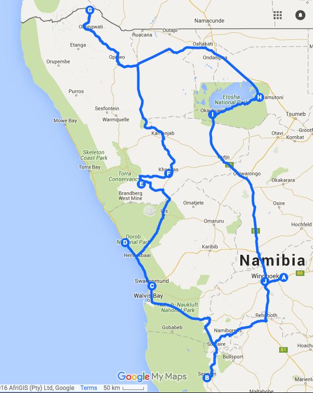 Itinéraire Namibie 2016