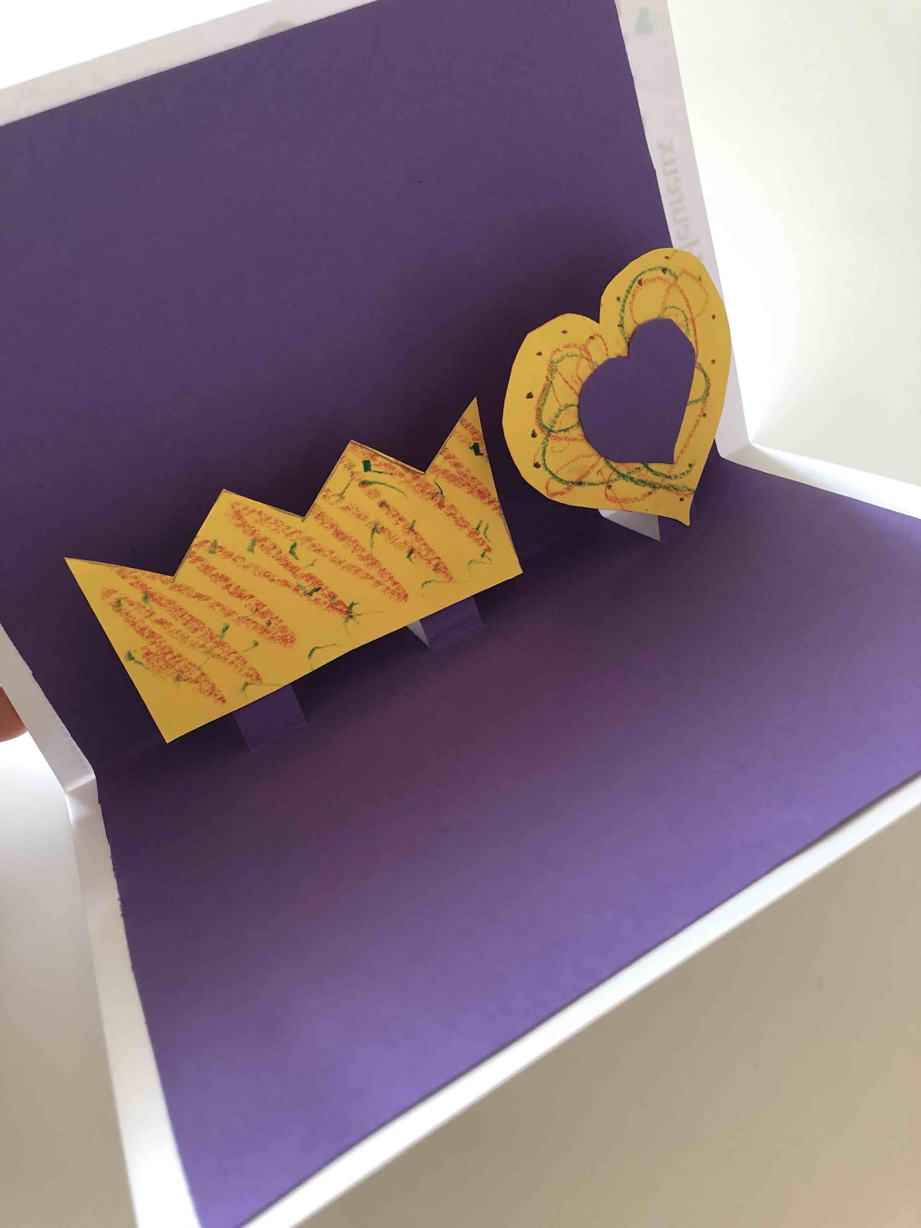 carte pop-up, dessin, dessin, couronne, coeurs
