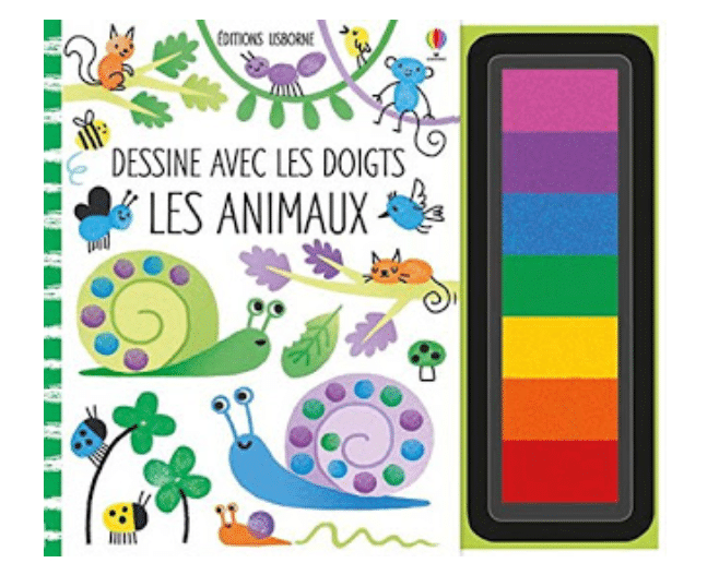 Dessine avec les doigts les animaux Editions Usborne Cadeaux 3 ans