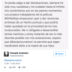 Pampita emitió un comunicado arrobando a Benjamín Vicuña