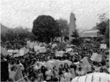 Manifestación en el Parque Central de Xela. Foto cortesía de Gustavo Ochoa.