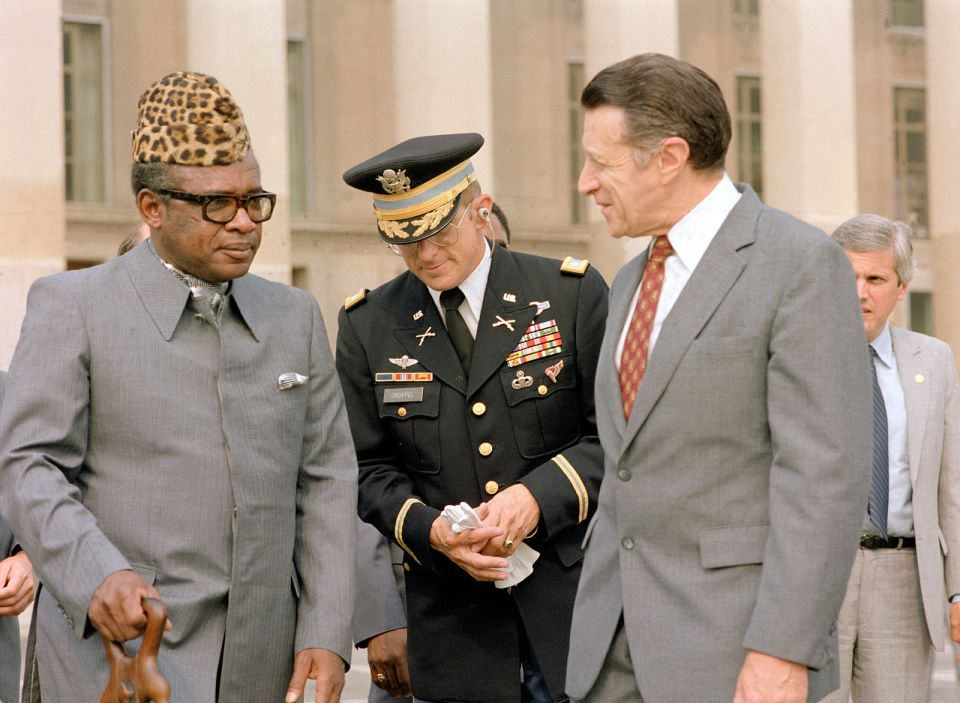 Mobutu Sese Seko of Zaire (now the Democratic Republic of the Congo) with US Secretary of State Caspar Weinberger at the Pentagon in 1983. The US was integral in wresting power from Patrice Lumumba and handing it to Mobutu, one of the twentieth century's most notorious and longest-ruling dictators.
