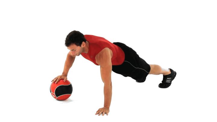 Flexiones pliométricas con balón medicinal