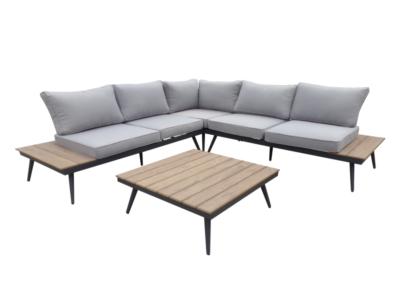 salon de jardin lounge avec 2 canapes 1 fauteuil d angle et 1 table basse aluminium