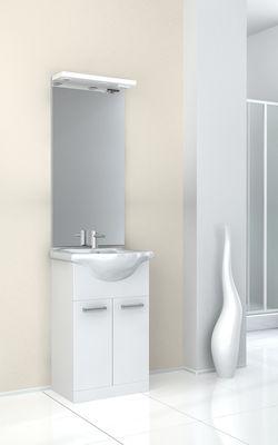 meuble de salle de bain avec vasque et miroir eva blanc 570 mm baden haus