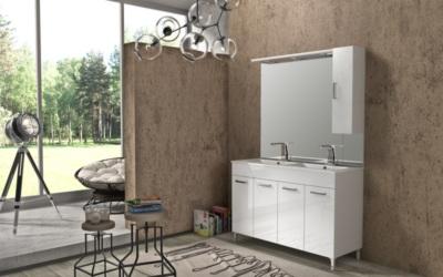 Meuble De Salle De Bain Avec Double Vasque Et Miroir Eva 2 Blanc L 1200 Mm Baden Haus 1044479 Salle De Bains L Entrepot Du Bricolage