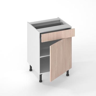 facade de cuisine 1 porte 1 tiroir chene blanchi 70 x 60 cm pour meuble