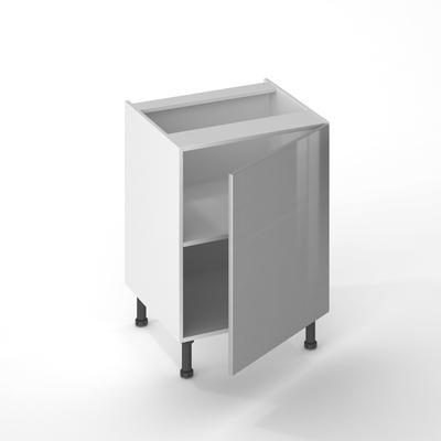 facade de cuisine 1 porte gris aluminium 70 x 60 cm pour meuble haut et bas