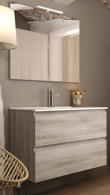 meuble de salle de bains aspect bois blanchi l 800 mm inglet egore