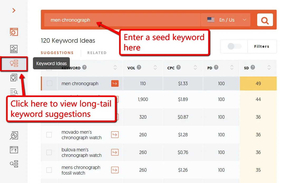 How searching for the best keyword using Ubersuggest can help increase your web conversion