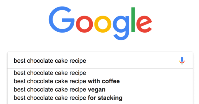 Google search for best recipe