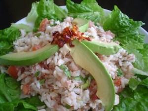 Ensalada de arroz con espinacas