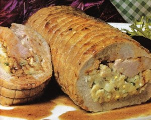 Lomo de cerdo relleno con huevo duro y bacalao