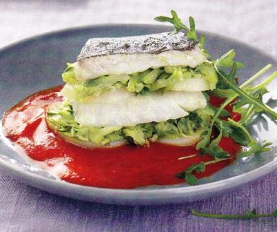 Milhojas de bacalao con verduras