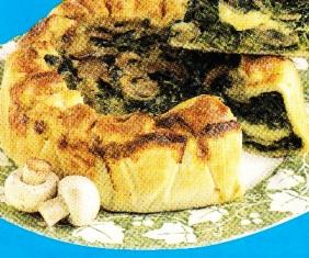 Quiche de espinacas y champiñones