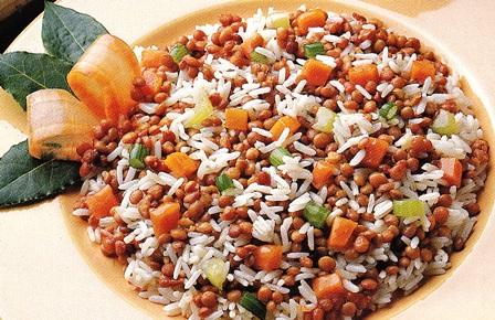 Lentejas persas con arroz