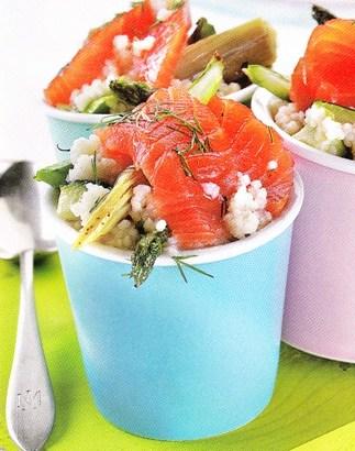 Salmón con salteado de verduras y cuscús