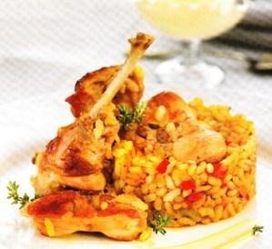 Cazuela de arroz con conejo
