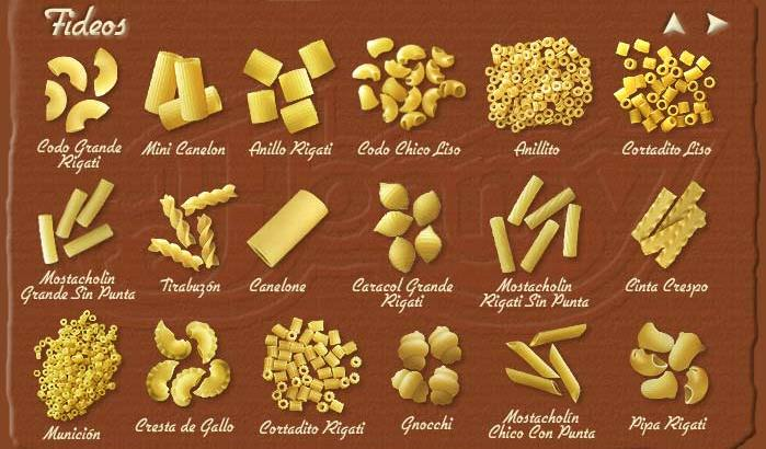 Distintas variedades de pastas secas