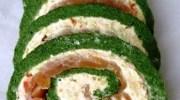 Rollitos de espinacas con salmón y queso