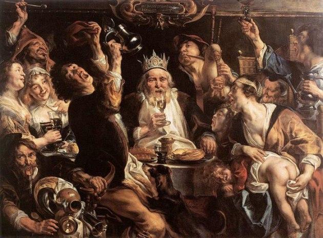 """Jacob Jordaens, """"El rey bebe"""" (1640). En la vigilia de la Epifanía se celebraba una fiesta familiar, en la que participaban los criados. A quien le tocaba el haba metida dentro de una torta resultaba ser el rey de la velada: se le colocaba una corona en la cabeza. En el cuadro se representa a la persona de más edad como rey, el cual distribuye los cargos «cortesanos» entre el resto de personas. El que hacía de rey pagaba los costes de la fiesta. Jordaens expresa una celebración de personas arremolinadas en torno al anciano rey, entregadas desaforadamente a la bebida: el rey brinda con ellas animadamente. Aunque son visibles los excesos."""