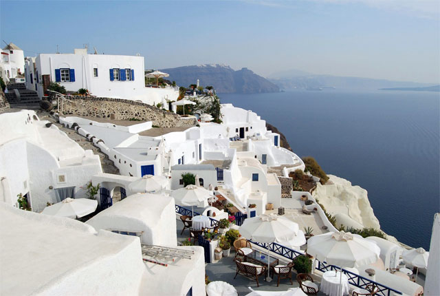 Terrazas de blanco y azul, foto de Clint Baker