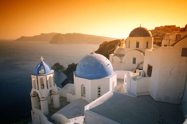 Puesta de sol en Santorini, foto de autor desconocido