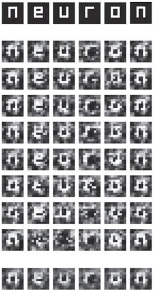 La línea de arriba se corresponde con la secuencia de imágenes mostradas a los sujetos del estudio y las de abajo las recreadas por el software a partir de su actividad cerebral. Foto: Neuron, Cell Press.