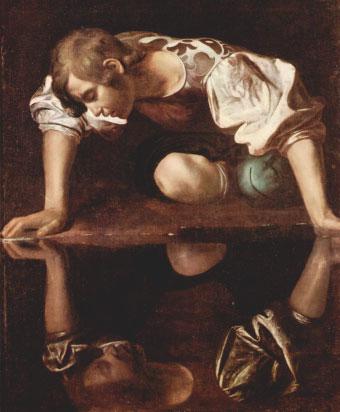 """Caravaggio: """"Narciso"""" (1600). Un joven hermoso se queda embebido por el reflejo de su propia imagen en un estanque. Su admiración fue tal que cayó al estanque al intentar besarla, muriendo ahogado. El tenue reflejo del joven significa la fatuidad de la belleza física, tan inestable como el reflejo de la superficie del agua. También la anoréxica se mira en el estanque de la sociedad: pero el reflejo que recibe de su propio cuerpo le molesta."""