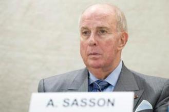 Albert Sasson en una de sus intervenciones en Naciones Unidas, en Ginebra. / ONU.