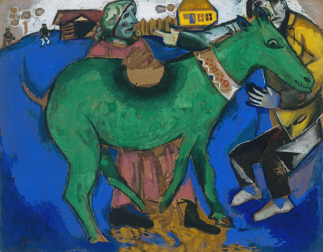 Marc Chagall, El asno verde, 1911. Gouache sobre tabla, 324 x 413 mm. Presentado por Lady Clerk 1947© ADAGP, Paris and DACS, London 2002.