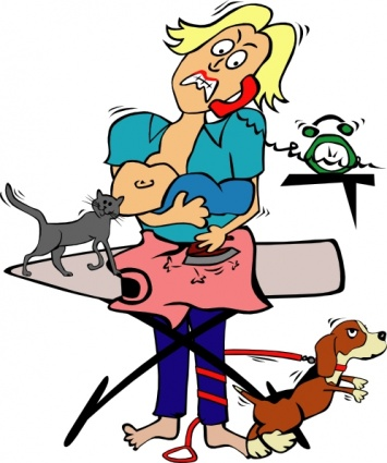 busy-mom-with-child-and-pets-clip-art
